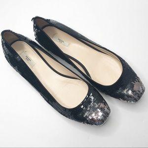 Prada black silver ombré sequin flats size 40